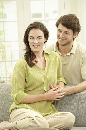 Portrait of happy couple at home, embracing. Stock Photo - 5754749