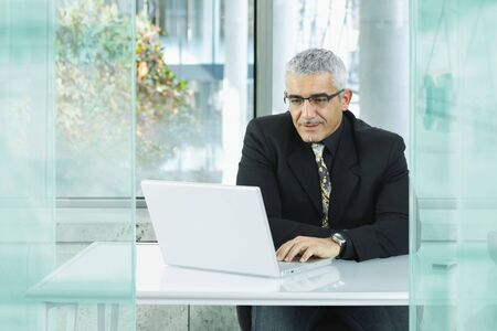 Mature businessman sitting at desk in modern office, using laptop computer. photo