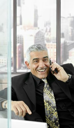 Mature businessman talking on mobile phone in front of office windows, laughing. photo