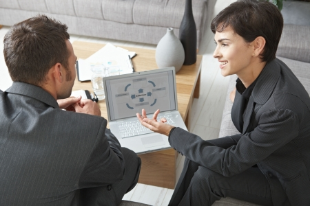 Business meeting at office. Youing businsspeople sitting on sofa, discussing charts on laptop screen. Overhead view. Stock Photo - 5767073
