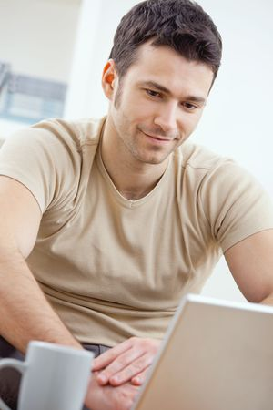 telework: Happy young man in t-shirt sitting on sofa at home, working on laptop computer, smiling. Stock Photo