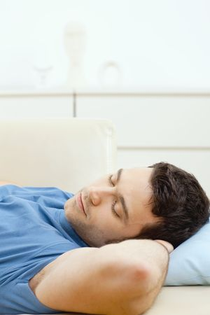 snug: Young handsome man sleeping on couch at home, side view. Stock Photo