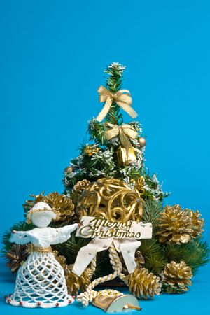 pineal: Christmas decoration on blue background.  Stock Photo
