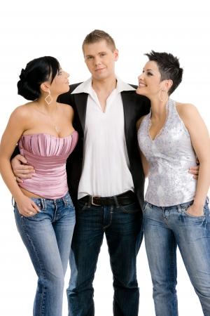 donne mature sexy: I giovani in posa con abiti alla moda, vestiti per la festa. Isolati su sfondo bianco. Archivio Fotografico