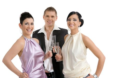 Happy young people celebrating, clinking with champagne. Isolated on white background. photo