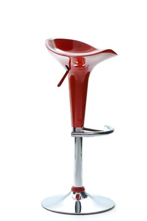 Photo of modern style, red plastic bar chair, isolated on white background. photo