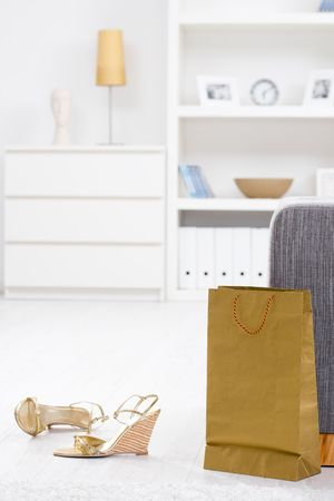 Newly bought gold colored shoes and bracelet packed from shopping bag. Stock Photo - 5932493