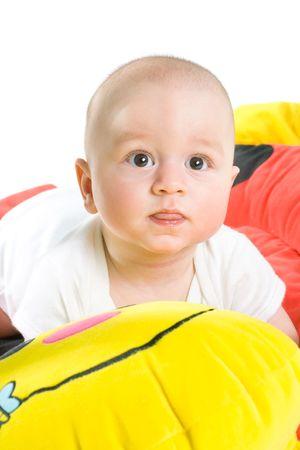 Portrait of happy baby, isolated on white background. photo