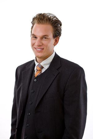 businesswear: Portrait of successful businessman, white background.