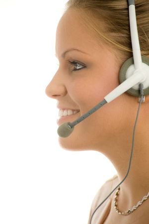 Happy young customer service girl in headset smiling. Stock Photo - 5982503