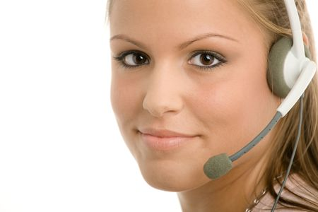 answer phone: Happy young customer service girl in headset smiling.