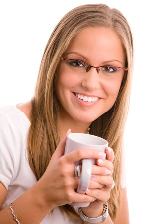Happy young college girl drinking coffe, smiling, isolated on white. photo