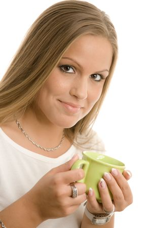 Happy young college girl drinking coffe, smiling, isolated on white. Stock Photo - 5982608