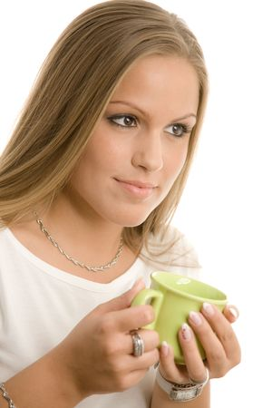 Happy young college girl drinking coffe, smiling, isolated on white. Stock Photo - 5982661
