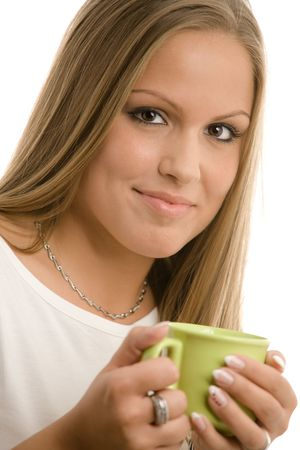 Happy young college girl drinking coffe, smiling, isolated on white. Stock Photo - 5982665