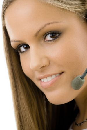 telefonzentrale: Young happy beautiful Customer Service Operator M�dchen in Headset, l�chelnd, auf wei�em hintergrund isoliert.  Lizenzfreie Bilder