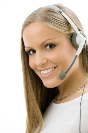 Young happy beautiful customer service operator girl in headset, smiling, isolated on white background. Stock Photo - 5982703