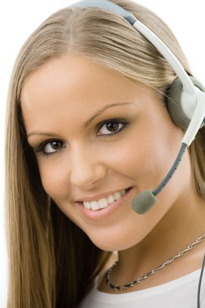 Young happy beautiful customer service operator girl in headset, smiling, isolated on white background. photo
