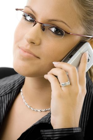 Young happy businesswoman calling on mobile phone, smiling, isolated on white background. Stock Photo - 5982663