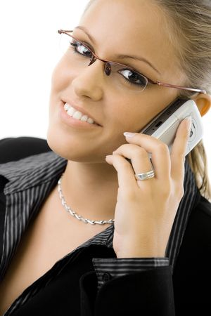 Young happy businesswoman calling on mobile phone, smiling, isolated on white background. Stock Photo - 5982711