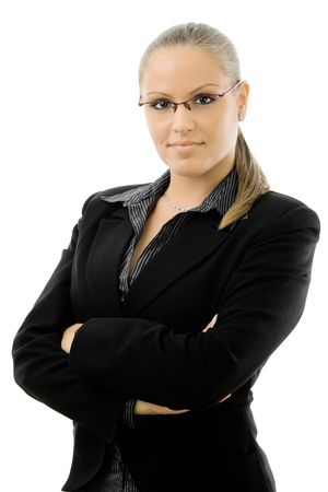 employee satisfaction: Happy attractive young businesswoman in black business suit, smiling, isolated on white background.