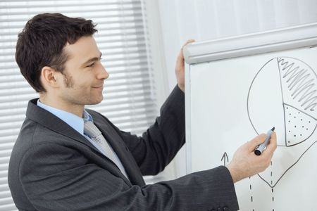 Young businessman doing business presentation, drawing and explaining charts on whiteboard in meeting room. photo