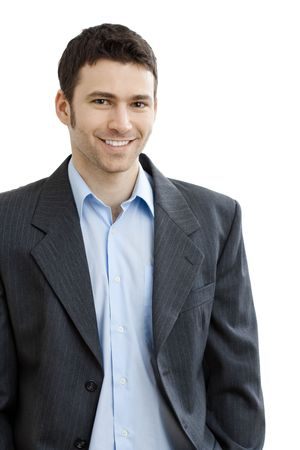 open collar: Happy casual businessman wearing suit and open collar shirt without tie, smiling.