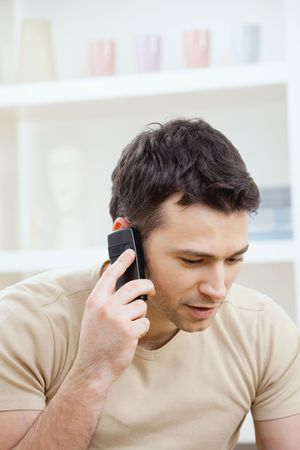 Young man talking on mobile phone at home. Stock Photo - 5982953
