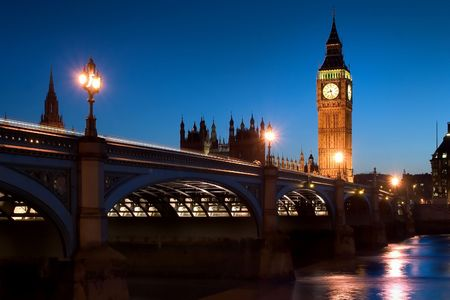 The famous landmarks of London: The Parliament, the Bid Ben and the Themes by night. photo