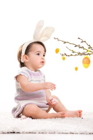 Baby girl in easter bunny costume, looking at easter eggs hanging from willow branch. Isolated on white background. photo