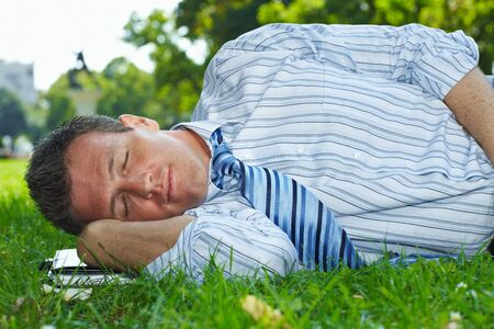 Closeup portrait of relaxed businessman lying in grass in park summertime. Stock Photo - 6220684