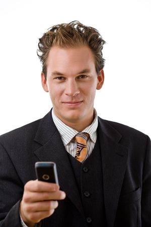 Businessman writing text message on mobile phone, white background. photo