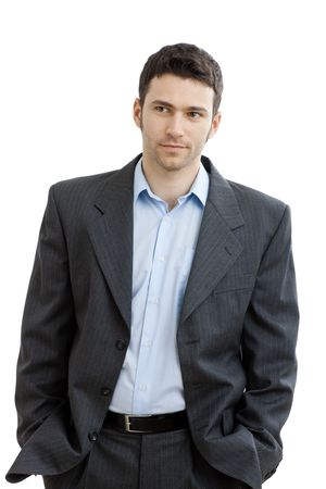 open collar: Portrait of tired businessman after work, in open collar shirt without tie.