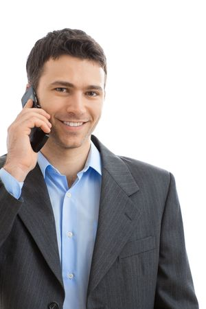 Portrait of casual businessman talking on mobile phone. Isolated on white. Stock Photo - 6224931