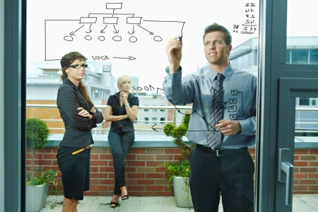 Business team planning, businessman thinking drawing diagram on window. Outdoor of office on terrace. photo