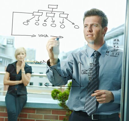 team vision: Business team planning, businessman thinking drawing diagram on window. Outdoor of office on terrace.