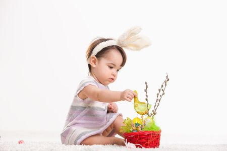 Baby girl in easter bunny costume, playing with chicken in easter basket. Isolated on white background. photo