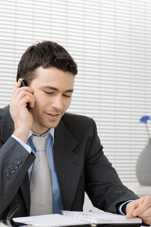 Businessman working at office desk, talking on mobile phone, smiling. photo