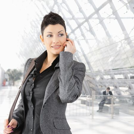 Portrait of young businesswoman talking on mobile phone on office lounge. Stock Photo - 6286137