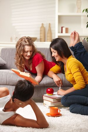 Happy highscool students learning in group at home, smiling. Stock Photo - 6338362