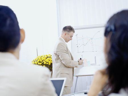 doing business: Young businessman doing business presentation, drawing and explaining charts on whiteboard in meeting room.