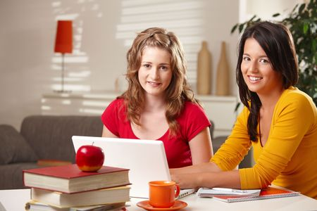 cooperating: Schoolgirls sitting at table at home with exercise book and laptop smiling at camera. Stock Photo