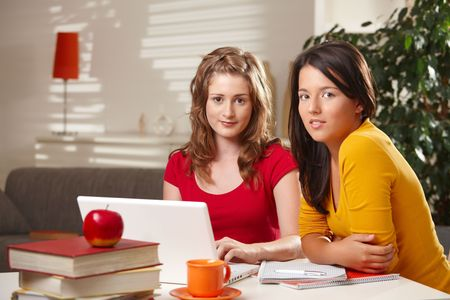 Schoolgirls learning tohether at home with exercise book and laptop looking at camera. photo