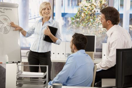 co work: Businesspeople working together in office, talking about chart on whiteboard. Stock Photo