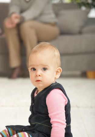 Portrait of cute baby girl looking at camera. Stock Photo - 6374404