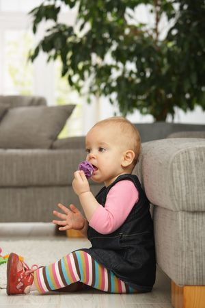 Cute baby girl sitting on floor in living room, playing with toys. Stock Photo - 6374441
