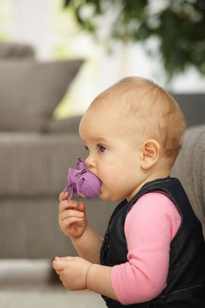 Little baby girl taking toy in mouth, looking up sitting in living room photo