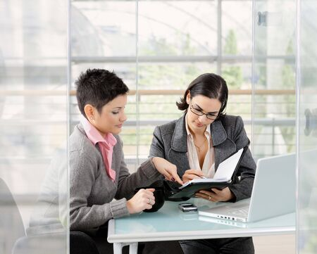 collaborating together: Young businesswomen sitting at office desk in modern office, looking at personal organizer.