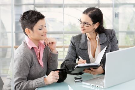 Young businesswomen sitting at office desk in modern office, looking at personal organizer, smiling. Stock Photo - 6438278