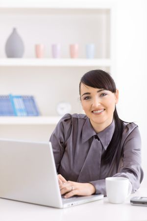 Smiling young businesswoman working on laptop at home. photo